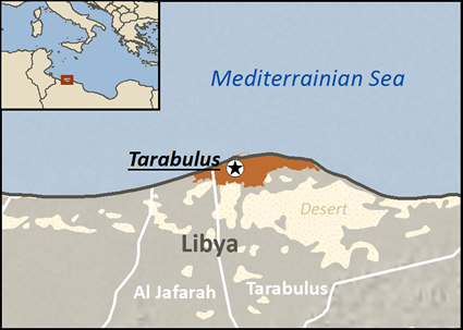 Map of Romani, Domari in Libya