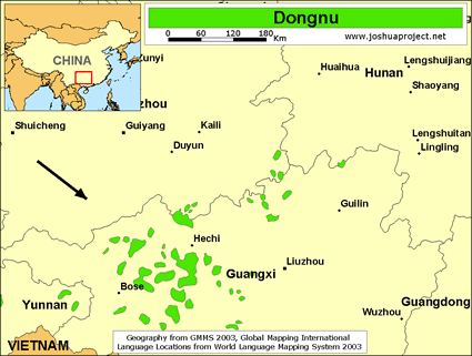 Map of Dongnu in China
