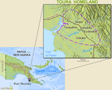 Map of Doura in Papua New Guinea