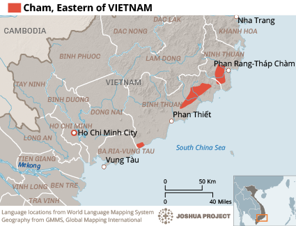 Map of Cham, Eastern in Vietnam