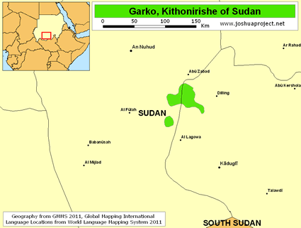 Map of Garko, Kithonirishe in Sudan