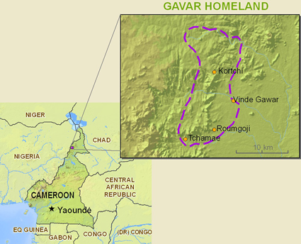 Map of Gavar in Cameroon