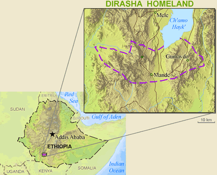 Map of Dirasha in Ethiopia