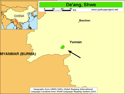 Map of De'an, Shwe in China
