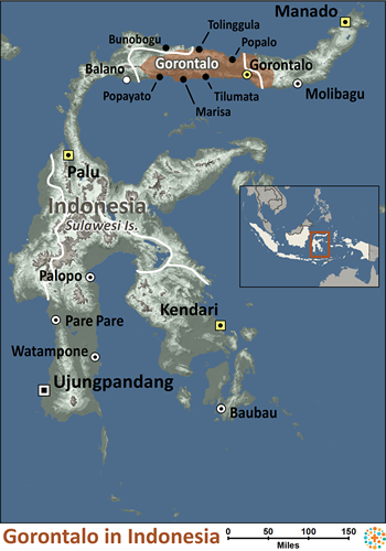 Map of Gorontalo in Indonesia