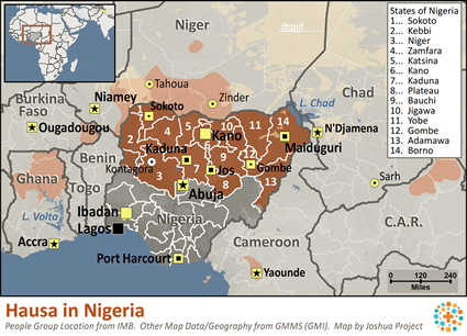 Map of Hausa in Nigeria