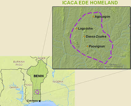 Map of Idaca in Benin
