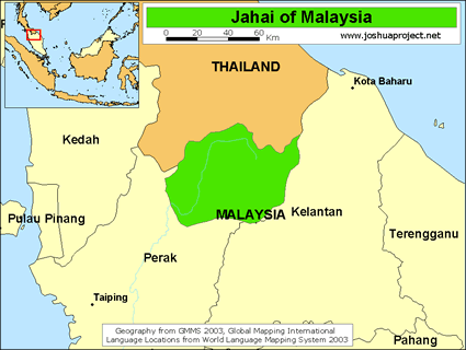 Map of Jehai in Malaysia