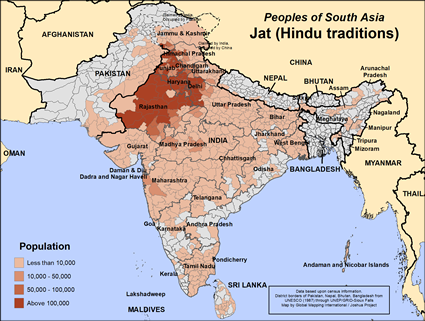 Map of Jat (Hindu traditions) in India