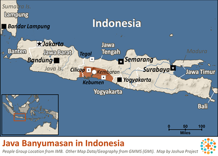Map of Java Banyumasan in Indonesia