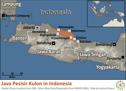 Map of Java Pesisir Kulon in Indonesia