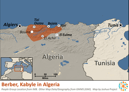 Map of Berber, Kabyle in Algeria
