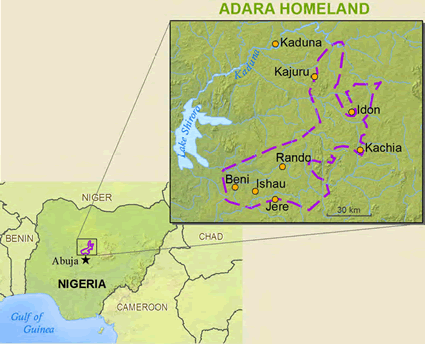 Map of Adara in Nigeria