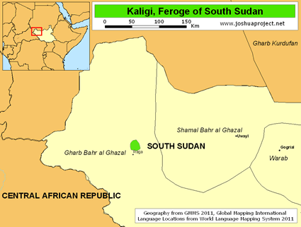 Map of Kaligi, Feroge in South Sudan