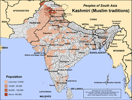 Map of Kashmiri (Muslim traditions) in Pakistan