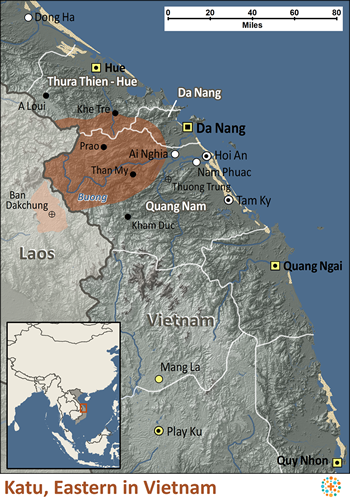 Map of Katu, Eastern in Vietnam