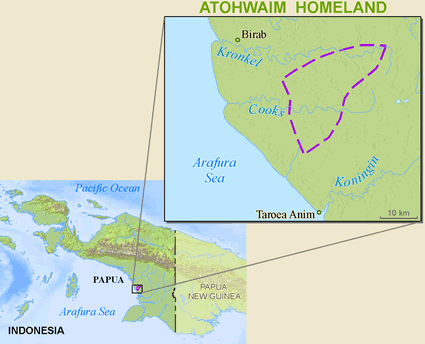 Map of Kaugat, Atohwaim in Indonesia