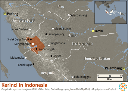 Map of Kerinci in Indonesia