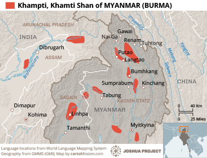 Map of Khampti, Khamti Shan in Myanmar (Burma)