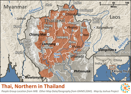 Map of Thai, Northern in Thailand