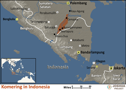 Map of Komering in Indonesia