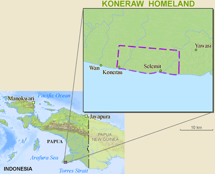 Map of Koneraw in Indonesia