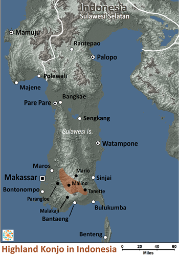 Map of Konjo, Highland in Indonesia