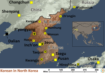 Map of Korean in Korea, North