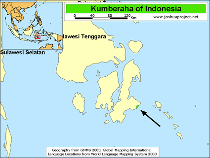 Map of Kumberaha in Indonesia