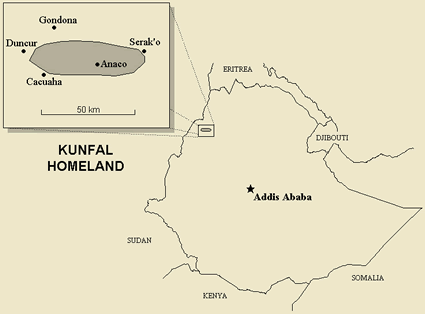 Map of Kunfal in Ethiopia