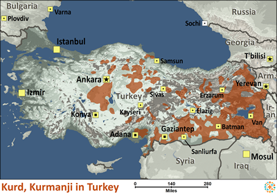 Map of Kurd, Kurmanji in Turkey