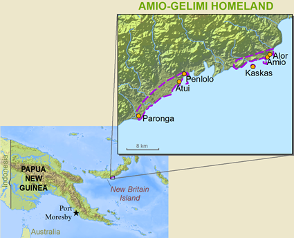 Map of Lesing in Papua New Guinea