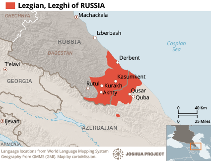 Map of Lezgin in Russia