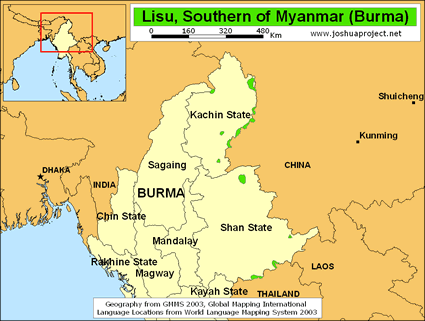 Map of Lisu in Myanmar (Burma)