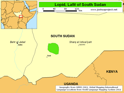 Map of Lopid, Lafit in South Sudan