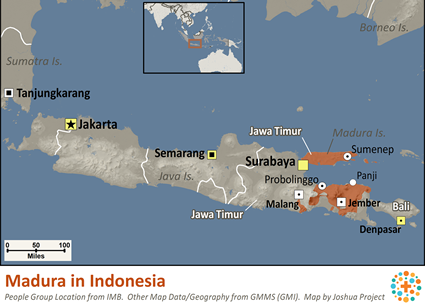 Map of Madura in Indonesia