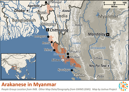 Map of Rakhine in Myanmar (Burma)
