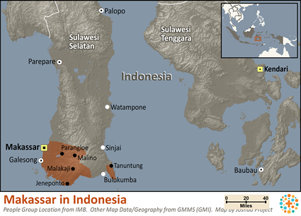 Map of Makassar in Indonesia