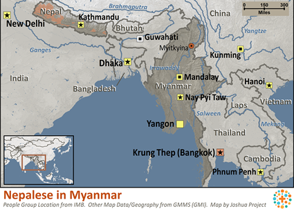 Map of Nepali, general in Myanmar (Burma)