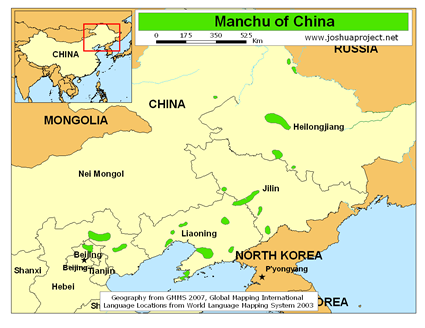 Map of Manchu in China