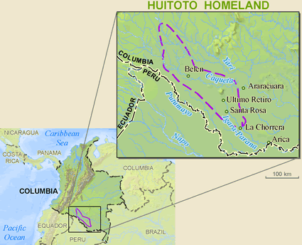Map of Meneca Huitoto in Colombia