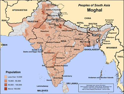 Map of Moghal in India