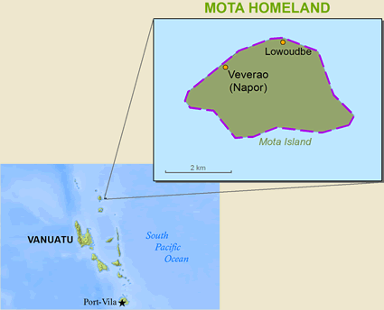 Map of Mota in Vanuatu