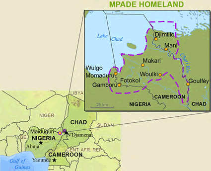 Map of Kotoko, Mpade in Chad