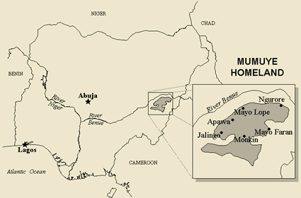 Map of Mumuye in Nigeria