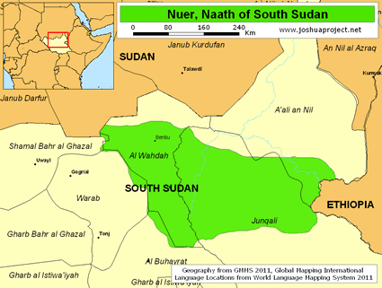Map of Nuer in South Sudan