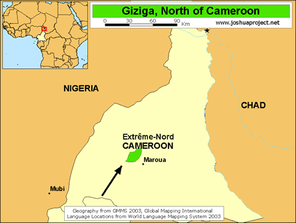 Map of Giziga, North in Cameroon