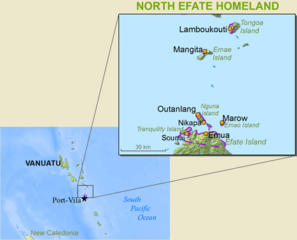 Map of Efate, Northern in Vanuatu