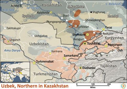 Map of Uzbek, Northern in Kazakhstan