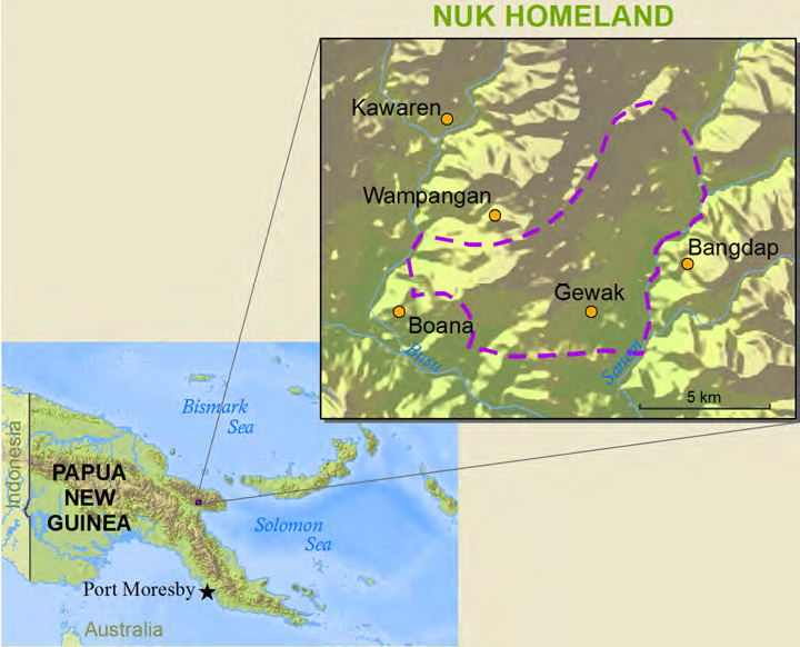 Map of Nuk in Papua New Guinea